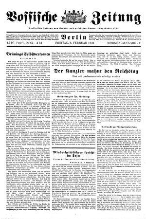 Vossische Zeitung vom 06.02.1931