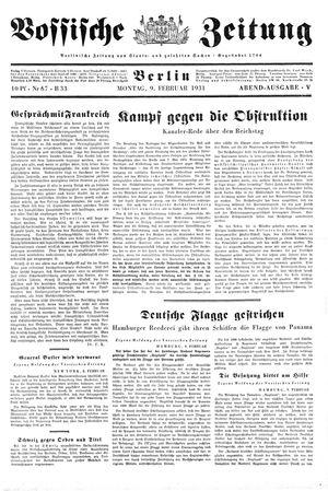 Vossische Zeitung vom 09.02.1931