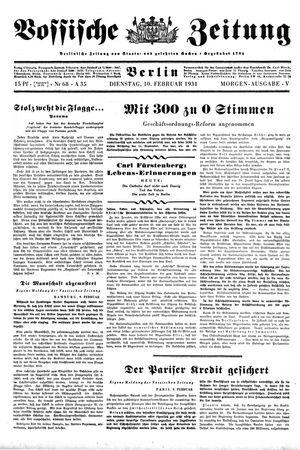 Vossische Zeitung vom 10.02.1931