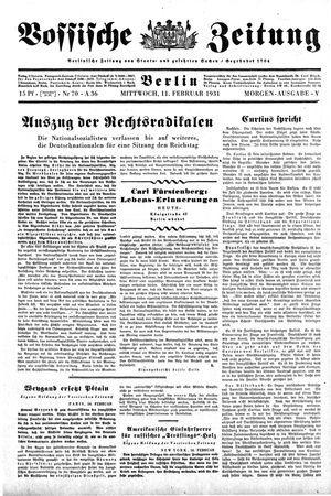 Vossische Zeitung vom 11.02.1931