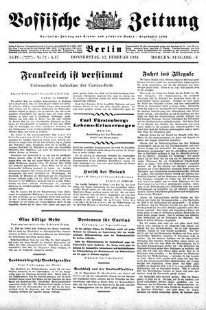 Vossische Zeitung vom 12.02.1931
