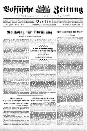 Vossische Zeitung vom 13.02.1931