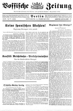 Vossische Zeitung vom 14.02.1931