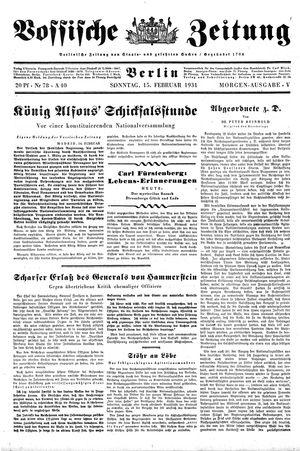 Vossische Zeitung vom 15.02.1931