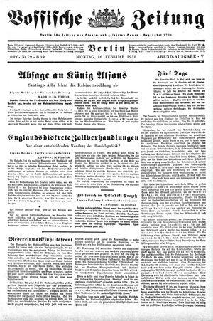 Vossische Zeitung on Feb 16, 1931