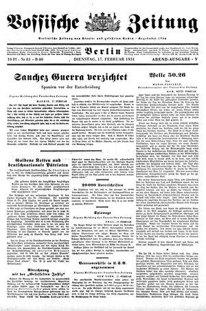 Vossische Zeitung vom 17.02.1931