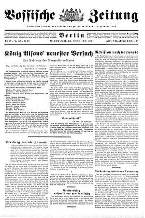 Vossische Zeitung vom 18.02.1931