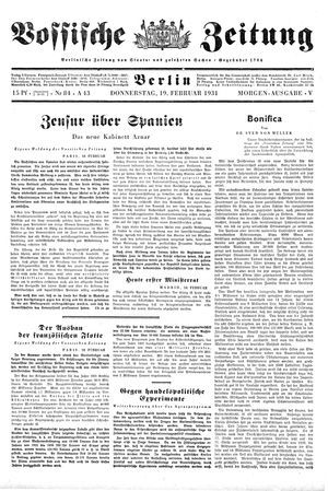 Vossische Zeitung vom 19.02.1931