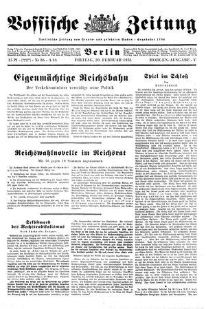 Vossische Zeitung vom 20.02.1931