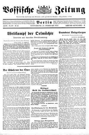 Vossische Zeitung vom 21.02.1931
