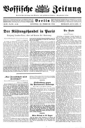 Vossische Zeitung on Feb 22, 1931