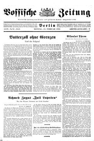 Vossische Zeitung vom 23.02.1931