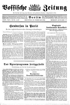 Vossische Zeitung on Feb 24, 1931