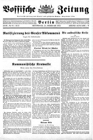 Vossische Zeitung vom 25.02.1931