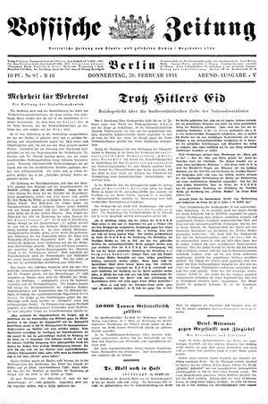 Vossische Zeitung vom 26.02.1931