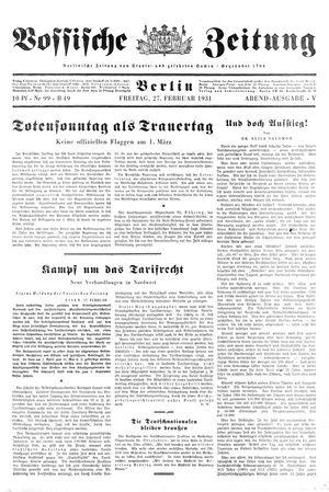 Vossische Zeitung vom 27.02.1931