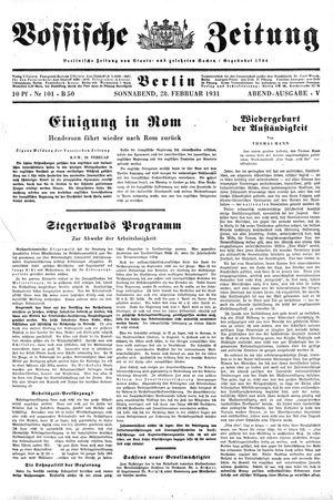 Vossische Zeitung vom 28.02.1931