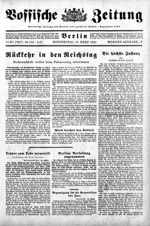 Vossische Zeitung vom 19.03.1931