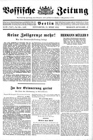 Vossische Zeitung vom 21.03.1931