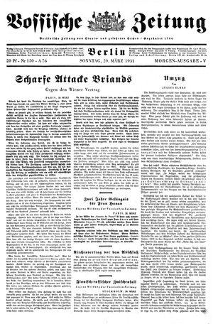 Vossische Zeitung vom 29.03.1931