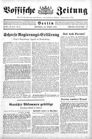 Vossische Zeitung vom 30.03.1931