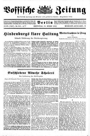 Vossische Zeitung vom 31.03.1931