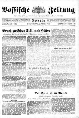 Vossische Zeitung on Apr 2, 1931