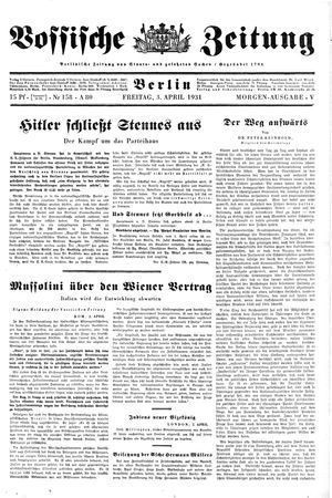 Vossische Zeitung vom 03.04.1931