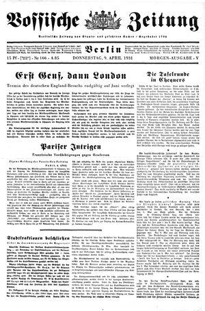 Vossische Zeitung vom 09.04.1931