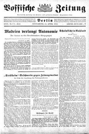 Vossische Zeitung on Apr 11, 1931