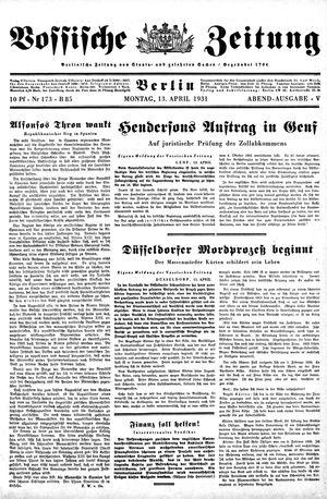 Vossische Zeitung on Apr 13, 1931