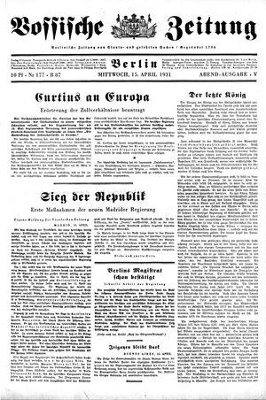 Vossische Zeitung vom 15.04.1931
