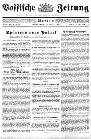 Vossische Zeitung vom 16.04.1931