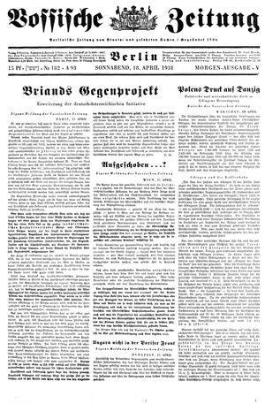 Vossische Zeitung vom 18.04.1931