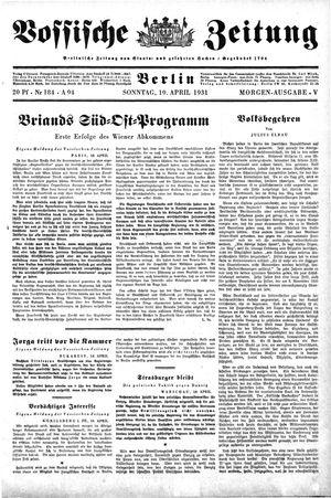 Vossische Zeitung vom 19.04.1931