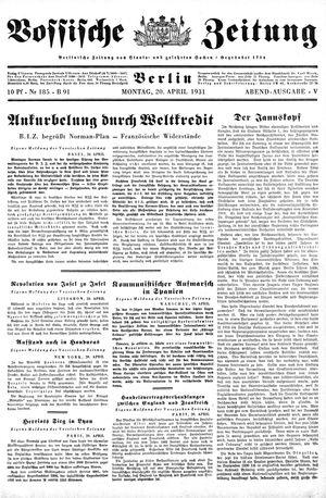 Vossische Zeitung vom 20.04.1931