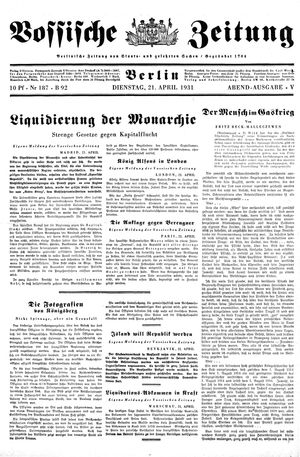 Vossische Zeitung vom 21.04.1931