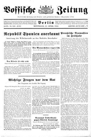 Vossische Zeitung vom 22.04.1931