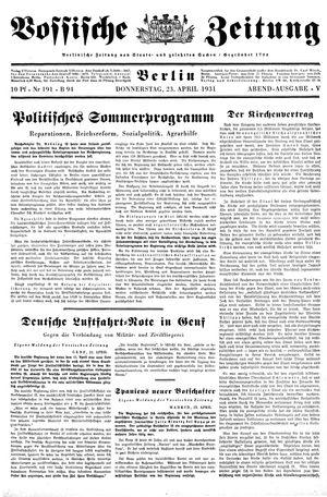 Vossische Zeitung vom 23.04.1931