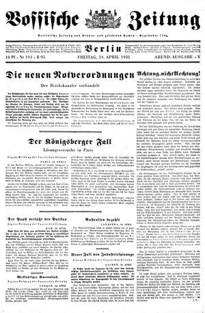 Vossische Zeitung vom 24.04.1931