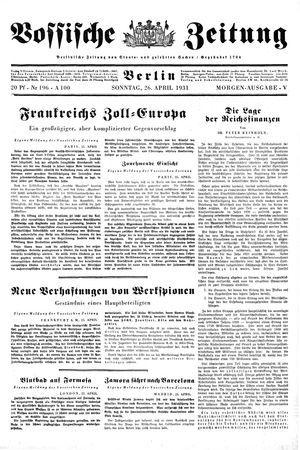 Vossische Zeitung on Apr 26, 1931