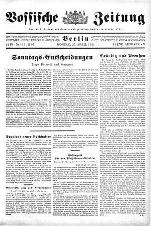 Vossische Zeitung vom 27.04.1931