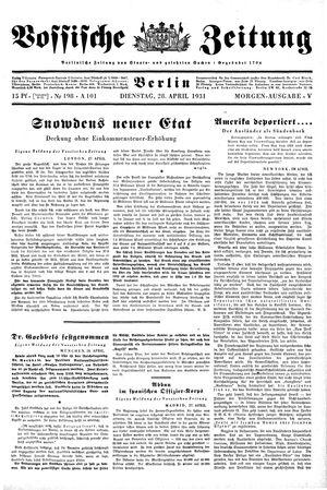 Vossische Zeitung on Apr 28, 1931