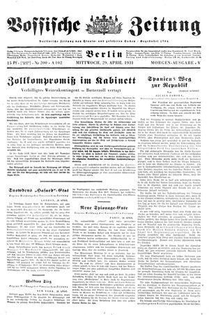 Vossische Zeitung vom 29.04.1931