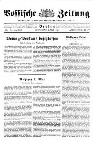 Vossische Zeitung vom 02.05.1931