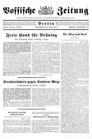 Vossische Zeitung on May 6, 1931