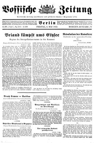 Vossische Zeitung vom 08.05.1931