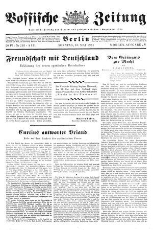 Vossische Zeitung vom 10.05.1931