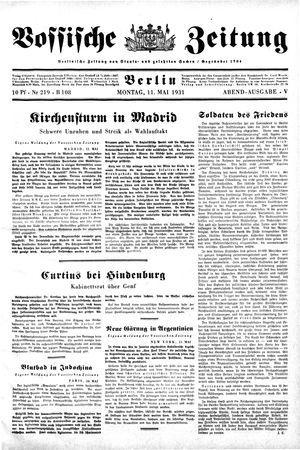 Vossische Zeitung vom 11.05.1931