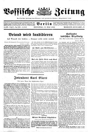 Vossische Zeitung vom 12.05.1931